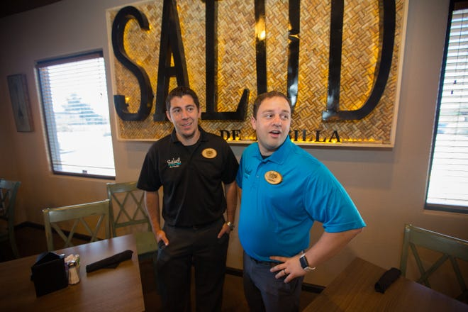 Owners of the new Salud! de Mesilla restaurant Russell Hernandez, left, and Christopher Schaljo in the restaurant's main dining area, May 20, 2016.