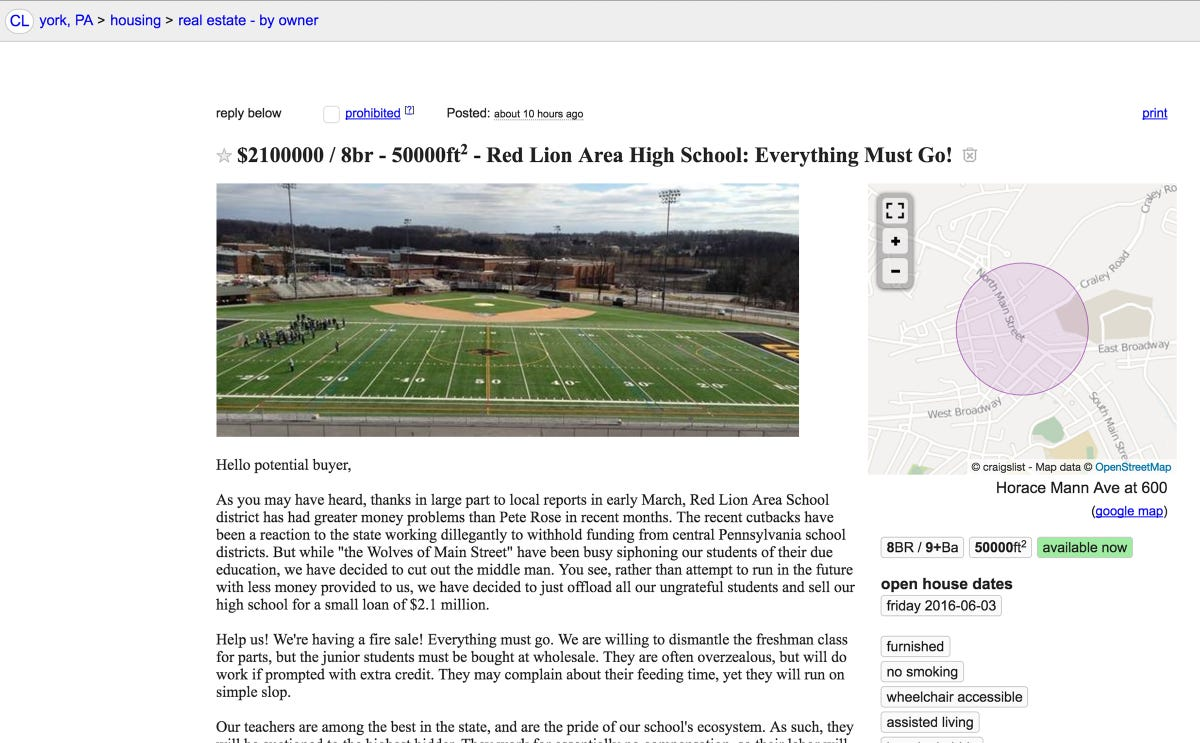 Red Lion high school for sale? Cheap, too!