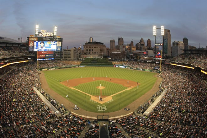 A wide view of Comerica Park during a MLB game between the Detroit Tigers and the Chicago White Sox on June 3, 2016 in Detroit, Michigan. The Tigers defeated the White Sox 10-3.