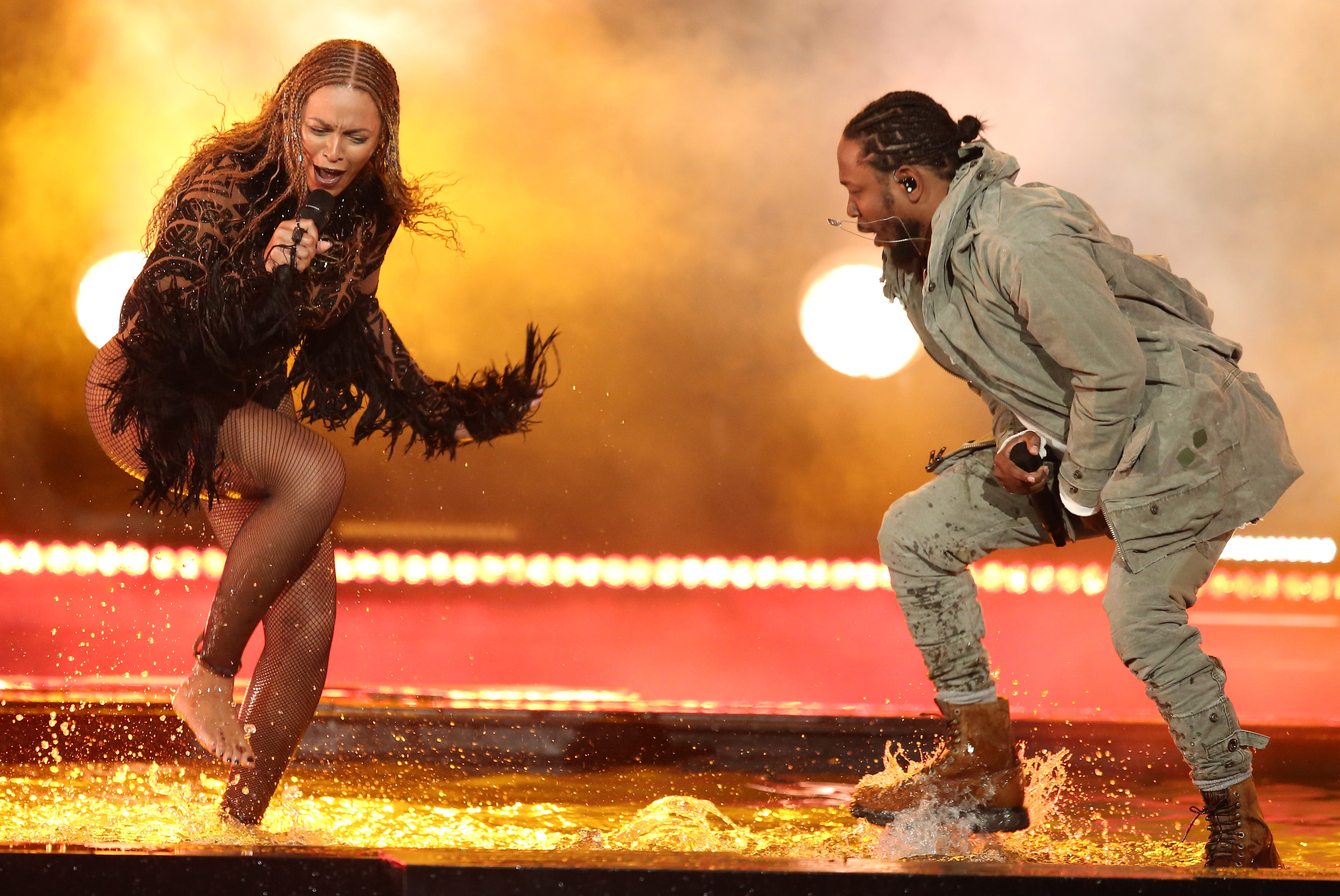 Beyonce, left, and Kendrick Lamar perform 'Freedom' at the BET Awards at the Microsoft Theater on June 26, 2016, in Los Angeles.