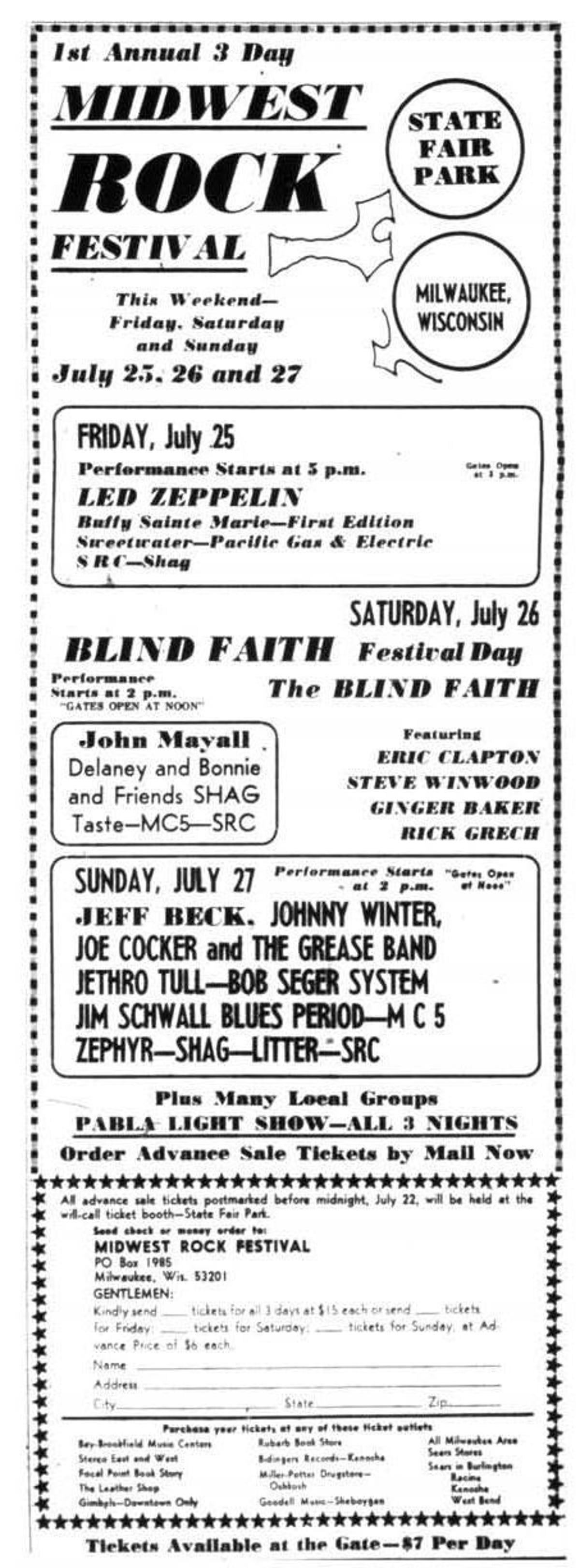 In 1969, Milwaukee had its own big rock festival, three