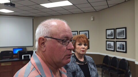 Wilson County School Board Chairman Larry Tomlinson, left, and Director of Schools Donna Wright, right.