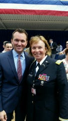 Retired Col. Sheri Swokowski with Secretary of the Army Eric K. Fanning at Pentagon Pride June 8.