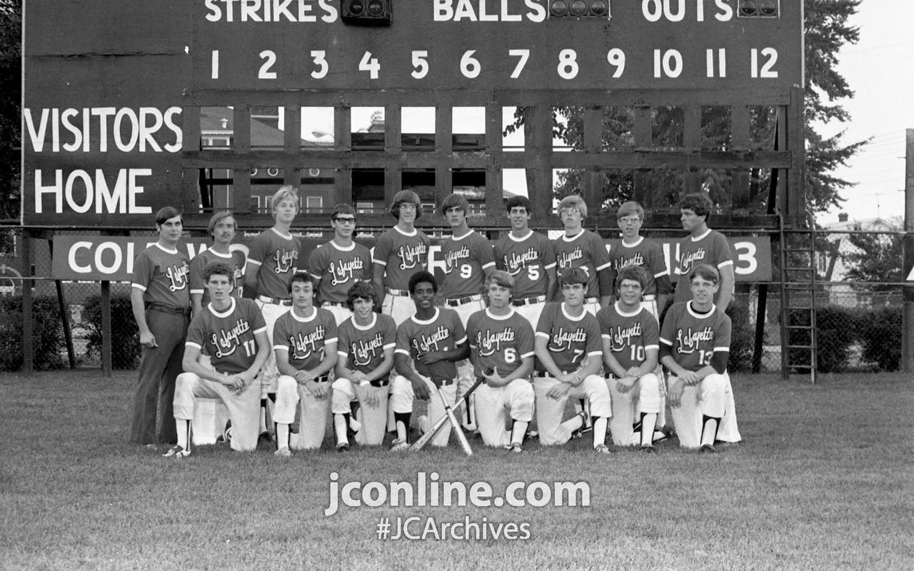 Lafayette's Colt All-Star team will play Joiet, Ill., in the second game of the Colt World Series action at Loeb Stadium, Columbian Park. Front row, from left; Howie Kochell, Ray Weber, Ron King, Dave Blackburn, Don Kilman, Dale Cummings, Jeff Johman and Keith Murphy. Back row, from left: Dave Williams, John Anthrop, Dave Thomas, Randy Rohrman, Dough Shelton, Rob Burgess and Joe Rife. Photo taken Aug. 13, 1974.