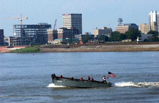 BOB GWALTNEY / COURIER & PRESS ARCHIVES Evansville skyline photographed from the deck of LST 325,  on July 21, 2003.