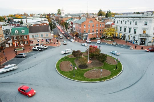 In this file photo from 2013, traffic moves through Gettysburg's Lincoln Square.