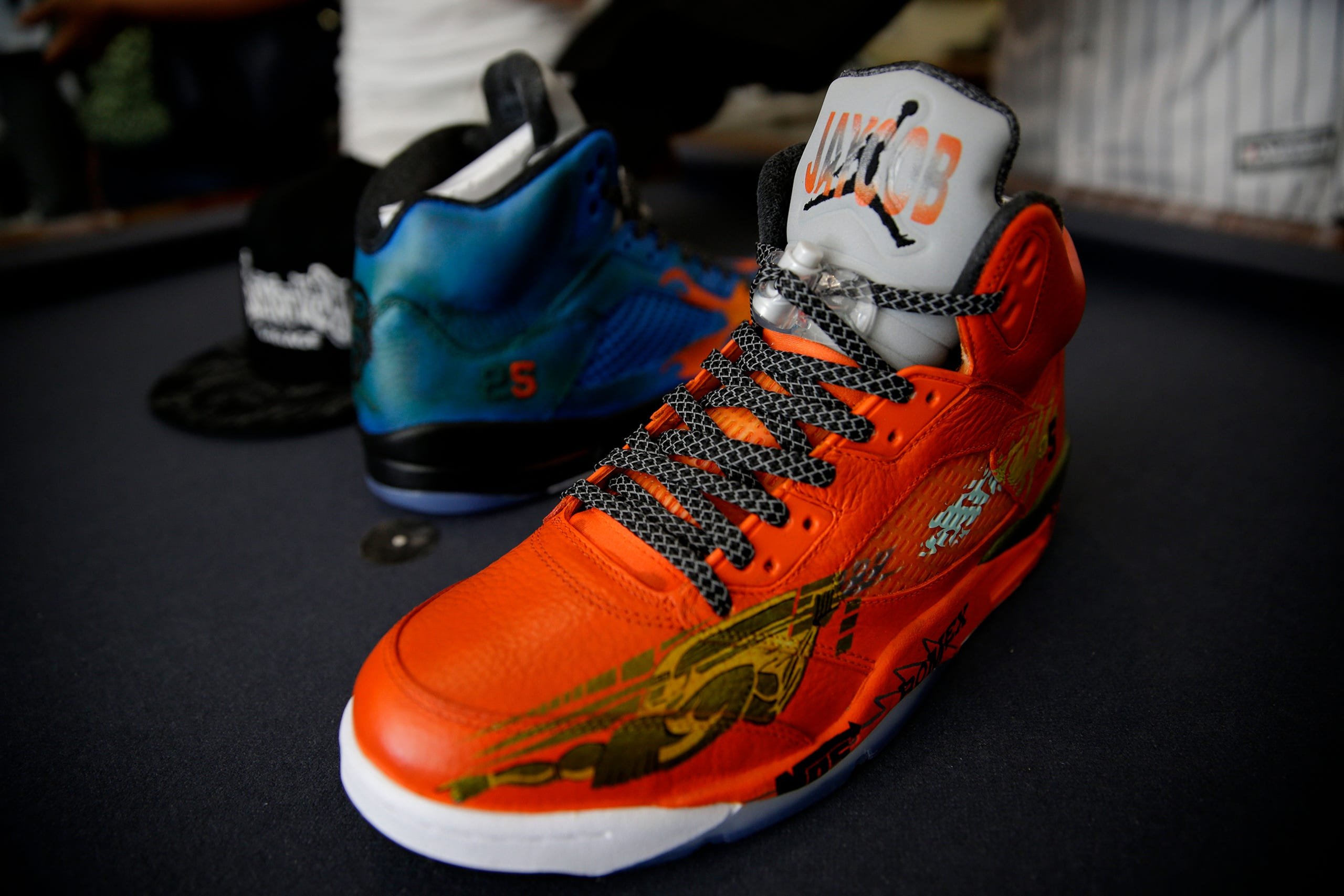 867c3c6e389 Custom painted pair of shoes to be given to Jaycob Solomon on July 23, 2016