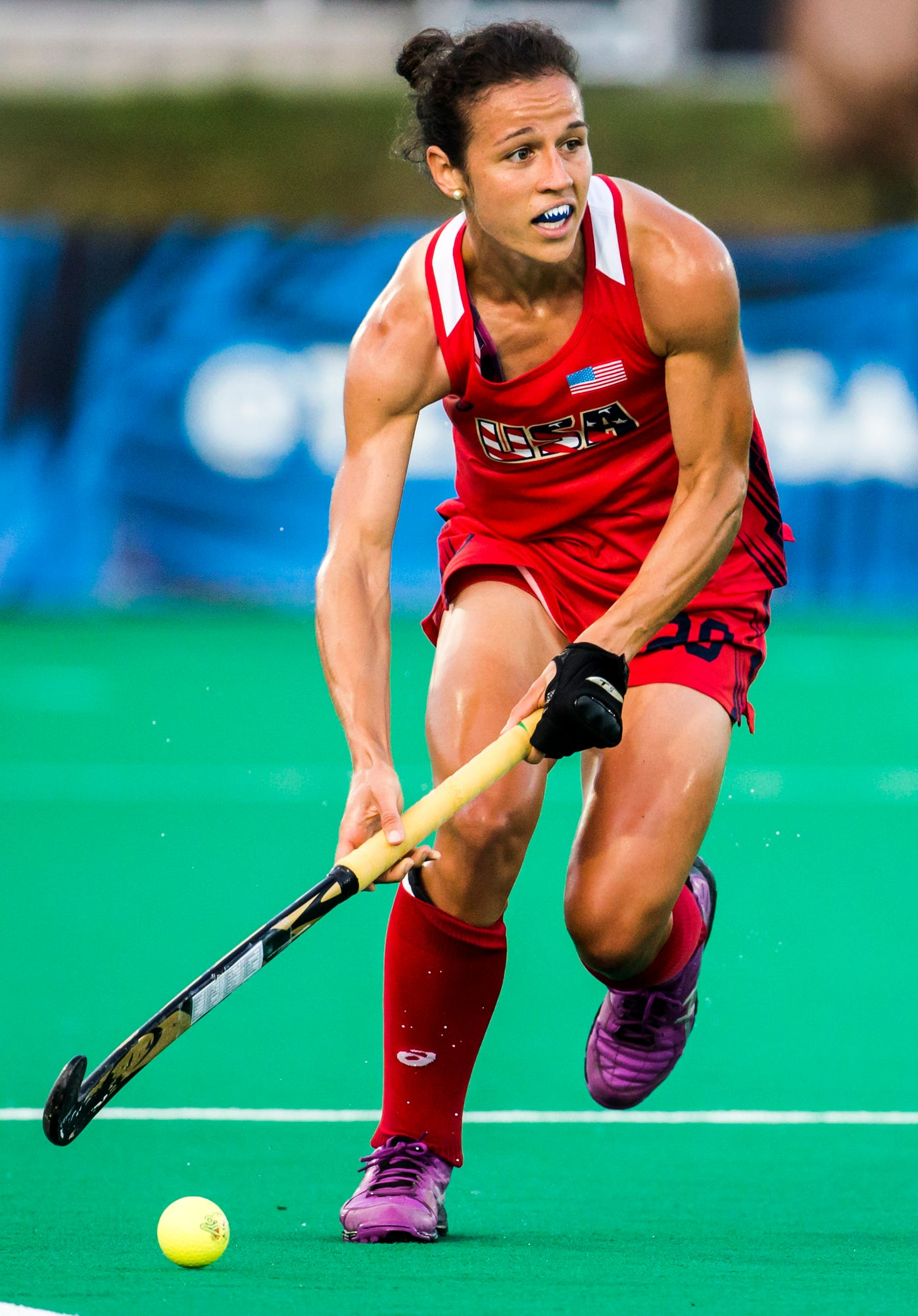 Caitlin Van Sickle plays in the U.S. Women's Field Hockey team's 3-2 win over India in Lancaster, Pa. on Monday evening, July 18.