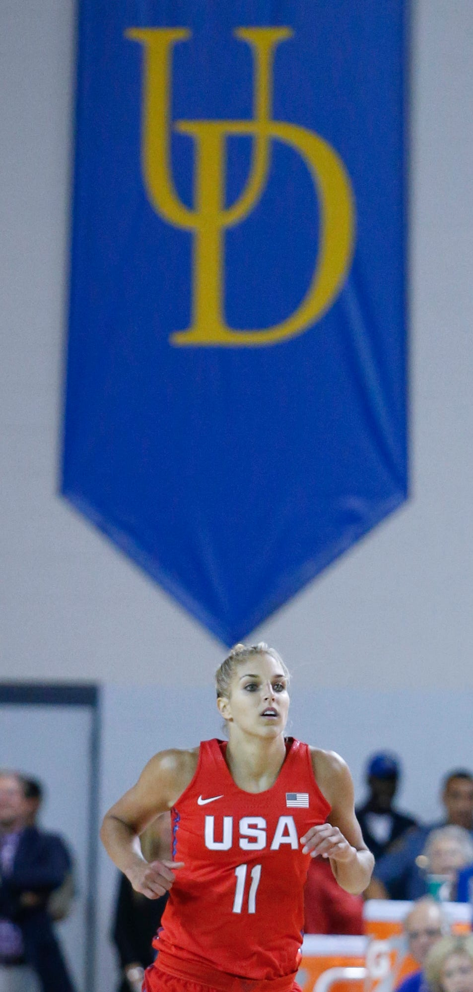 USA's Elena Delle Donne wears the national team jersey on the floor where she played her college career in the second half of an exhibition game between the France and USA women's basketball teams at the Bob Carpenter Center Wednesday.