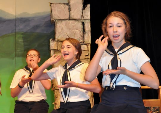 "Three of the von Trapp children, played by Peyton McManus, Kylee Dunn and Julian Needle, pretend to sip tea while singing ""Do Re Mi"" during rehearsal for the CFABS youth production of ""The Sound of Music."""