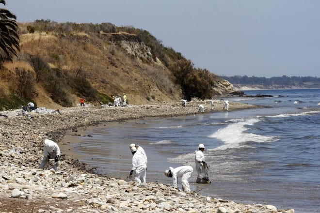 Crews packed clumps of oil into plastic bags as part of the cleanup of a spill near Refugio State Beach in May 2015.