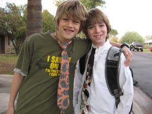 Sawyer (right) in third grade with friend and neighbor Luc, a fifth-grader.