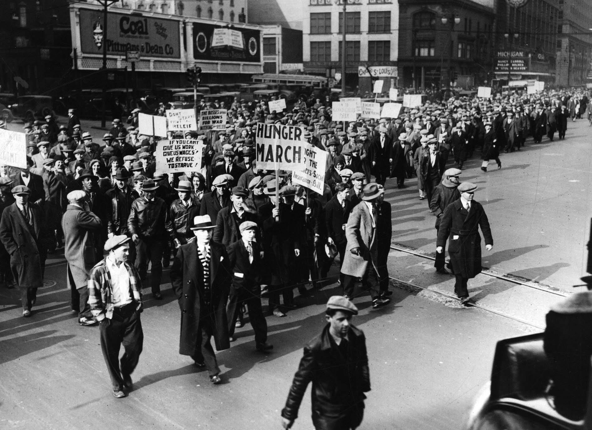 A crowd of unemployed demonstrate in downtown Detroit,