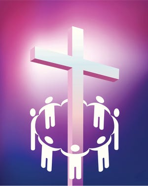 Holding hands and encircling a cross.