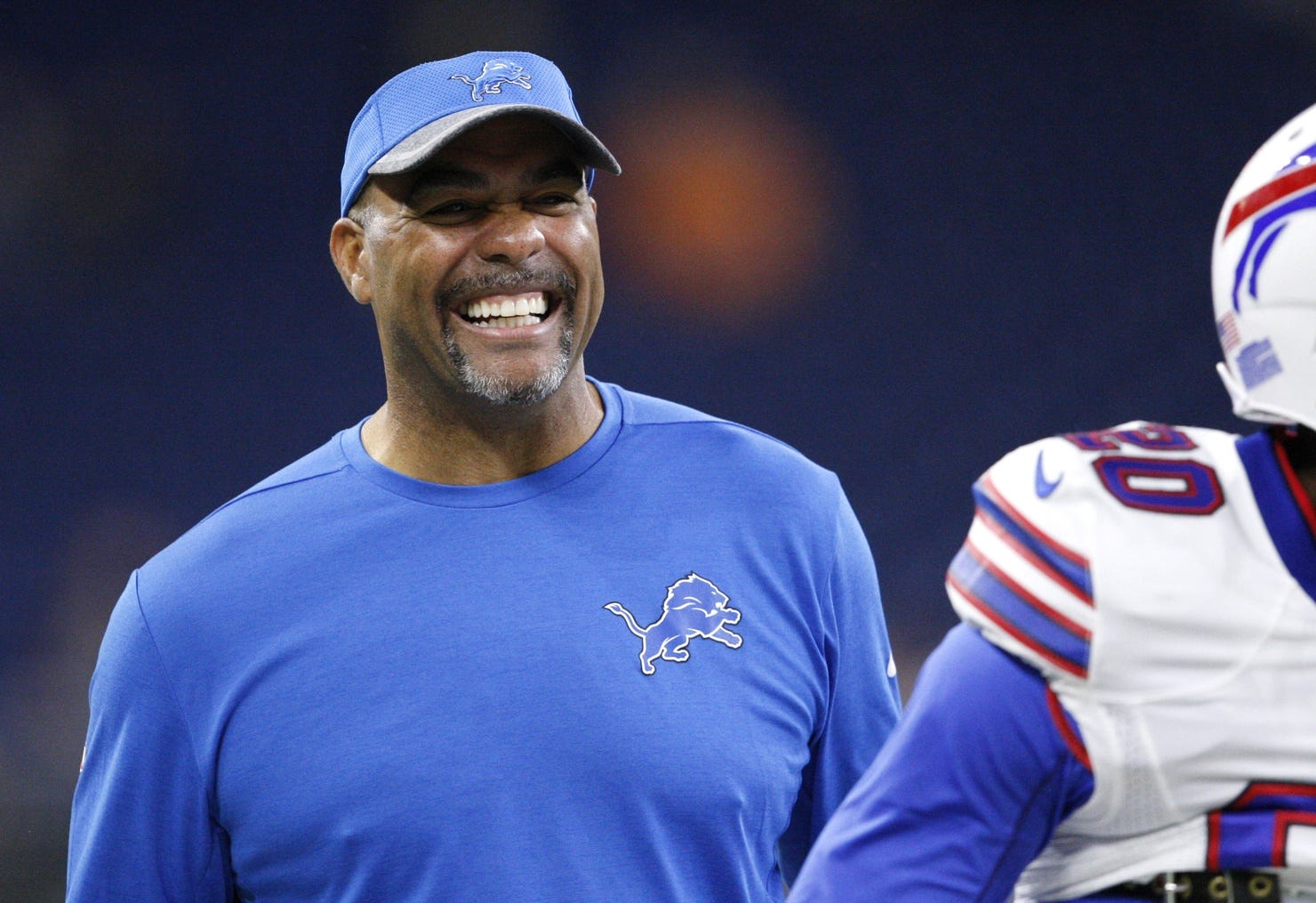 Lions defensive coordinator Teryl Austin smiles before