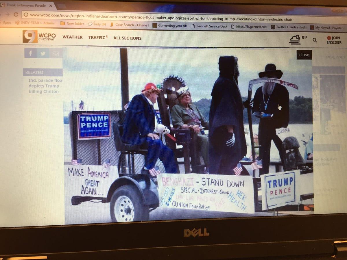 Trump 'executes' Clinton on Indiana parade float