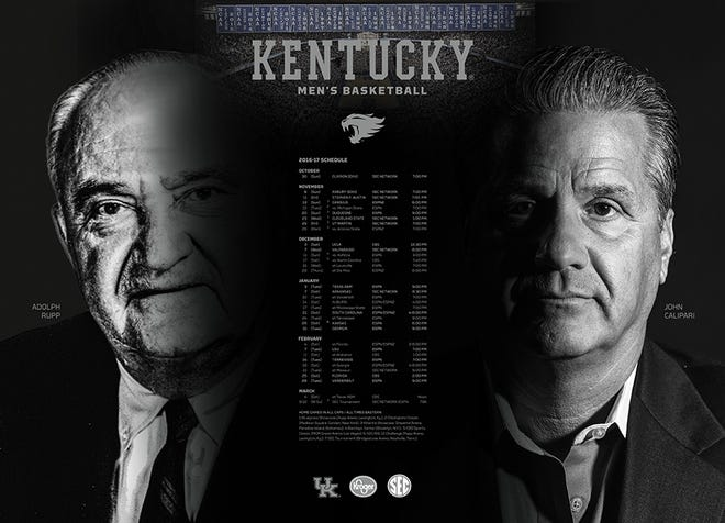 John Calipari and Adolph Rupp were featured on UK's 2016-17 schedule poster.