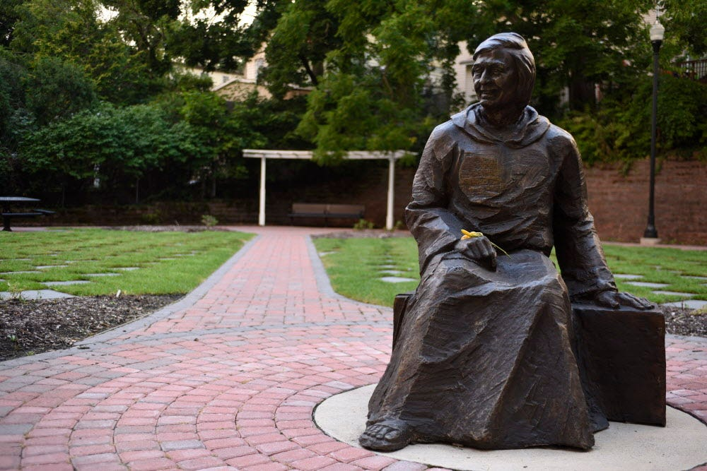 Statue of Father Mychal Judge, who was killed in the Sept. 11 attacks, at St. Joseph's Park in East Rutherford.