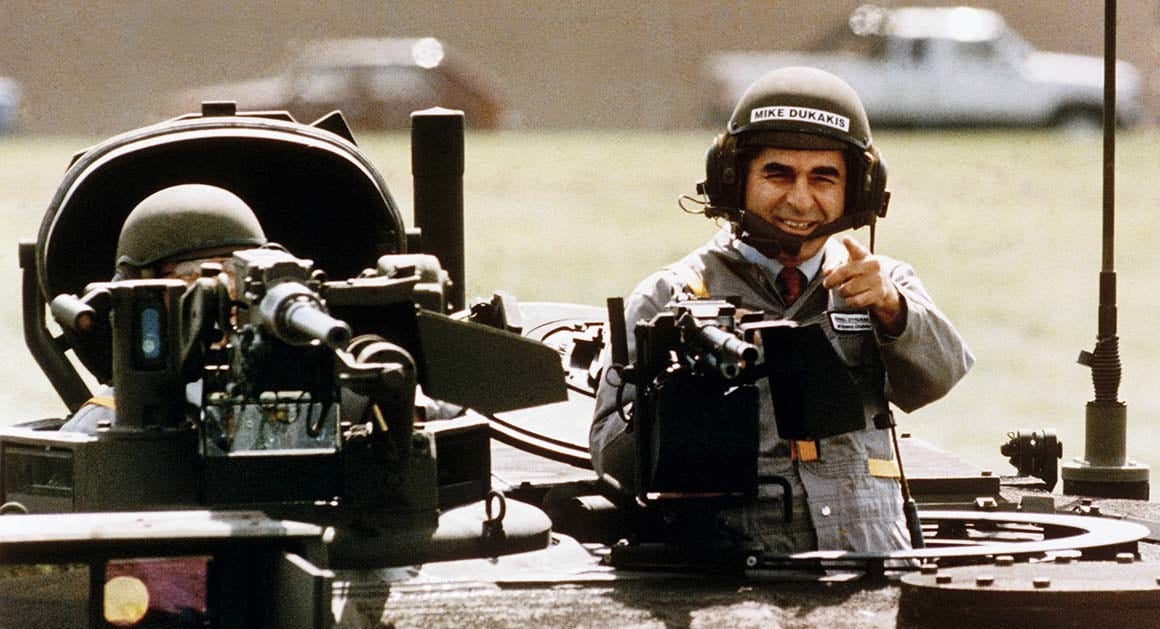 President Trump could have climbed into a tank but didn't. He blamed Michael Dukakis
