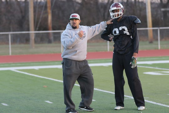 John Jacob, left, is commissioner of the New Jersey Football Coaches Association.