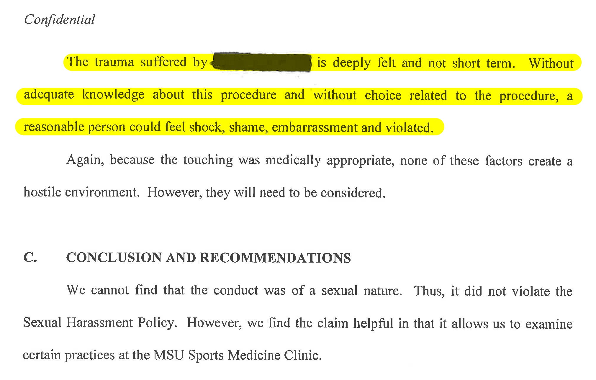 The Woman Says The Final Report Is Missing Key Facts, Facts She Gave Msu  More Than Once: Nassar Was Sexually Aroused; And The Appointment Didn't End  Until