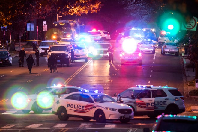Police shut down Connecticut Avenue outside Comet Ping Pong, a pizza restaurant that was the subject of a fake news story claiming it was the center of a child sex ring orchestrated by Hillary Clinton and her campaign chief, John Podesta, after a man with an assault rifle entered the restaurant in Washington, D.C. on Dec. 4, 2016.