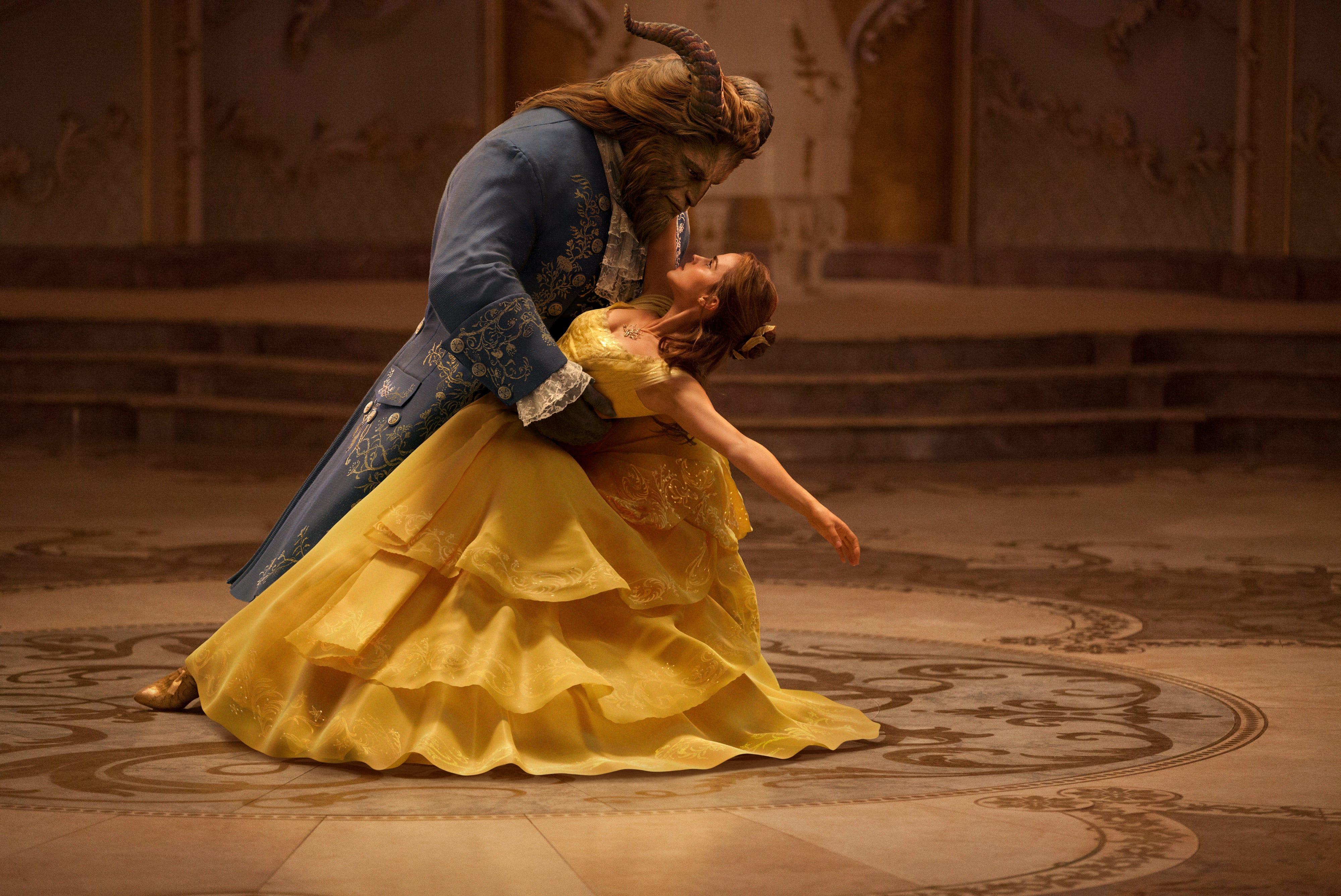 The Beast (Dan Stevens) and Belle (Emma Watson) share