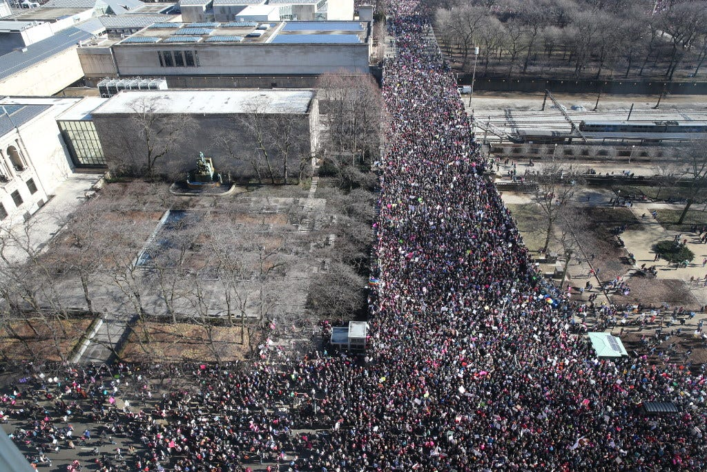 Aerial images from women's marches show just how massive the turnout is around the USA