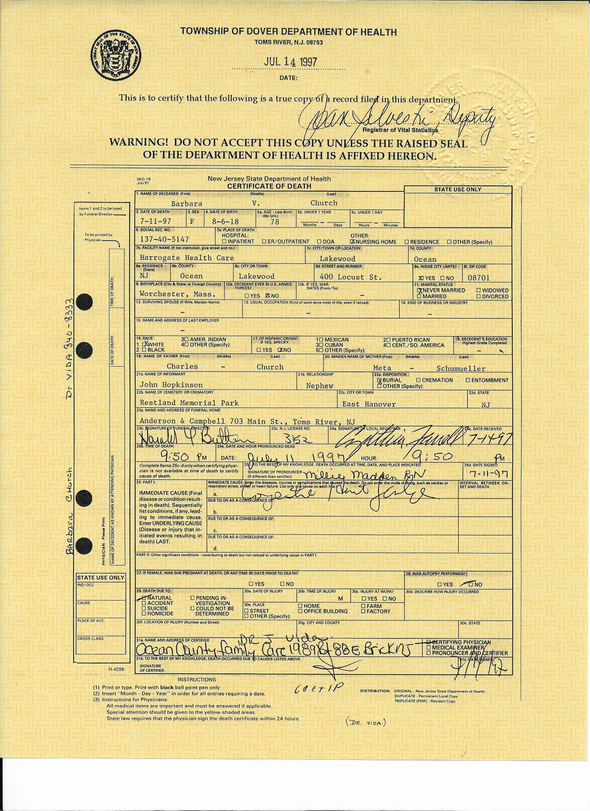World record revealed by death certificate?
