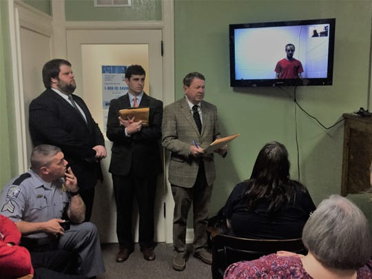 Defendant Cole Burdette looks on via video link Friday, as Jacinto family attorney Tommy Dunaway urges Judge Denise McCurry Malone to deny him bail on the charge of felony DUI causing death. Burdette is accused of killing Antonio Jacinto in collision late Thursday night.