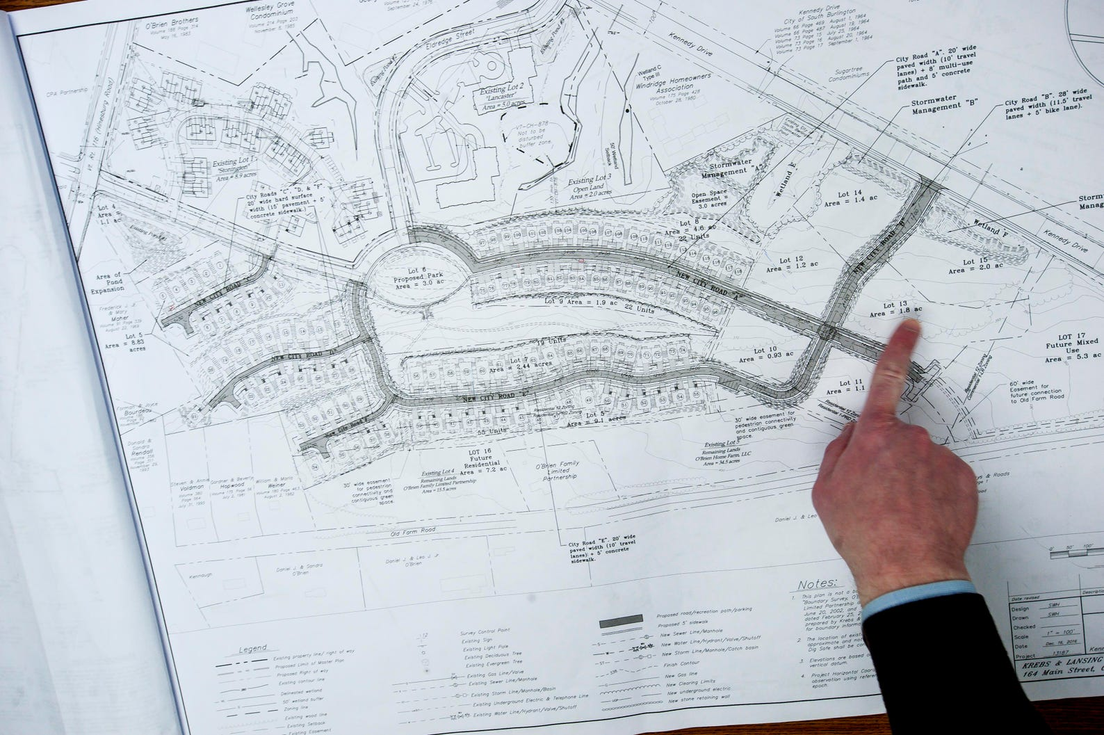 Evan Langfeldt, CEO of the O'Brien Brothers Agency, describes a planned residential development in South Burlington on Tuesday, February 28, 2017. The project is between Old Farm Road, Kimball Avenue and Route 116.