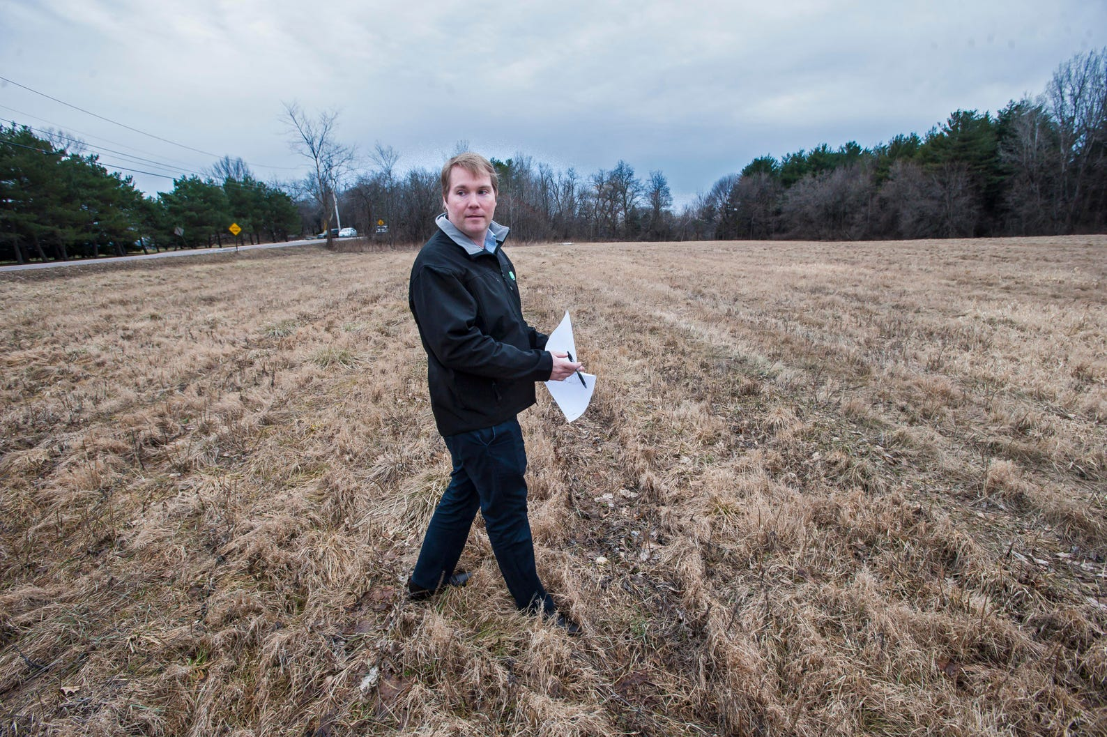 Evan Langfeldt, CEO of the O'Brien Brothers Agency, near the site of a planned residential development in South Burlington on Tuesday, February 28, 2017. The project is between Old Farm Road, Kimball Avenue and Route 116.