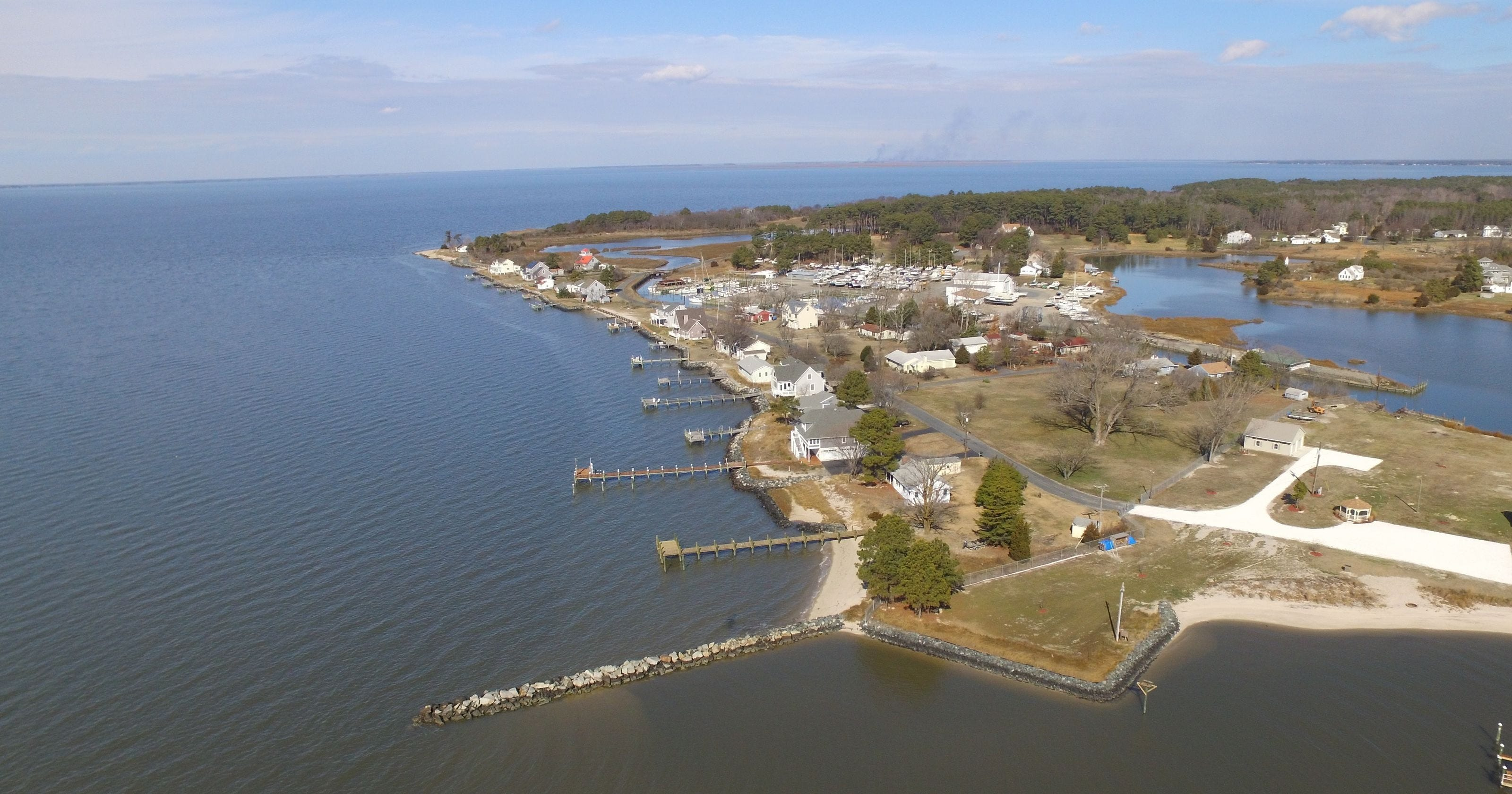 The Chesapeake Bay fishing village of Deal Island, Md., is shown.