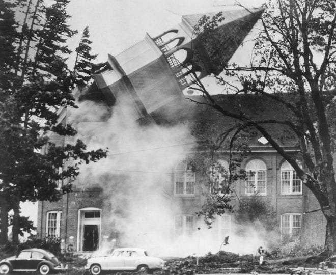 The bell tower of Campbell Hall on what was then called the Oregon College of Education toppled during the Columbus Day storm of 1962.