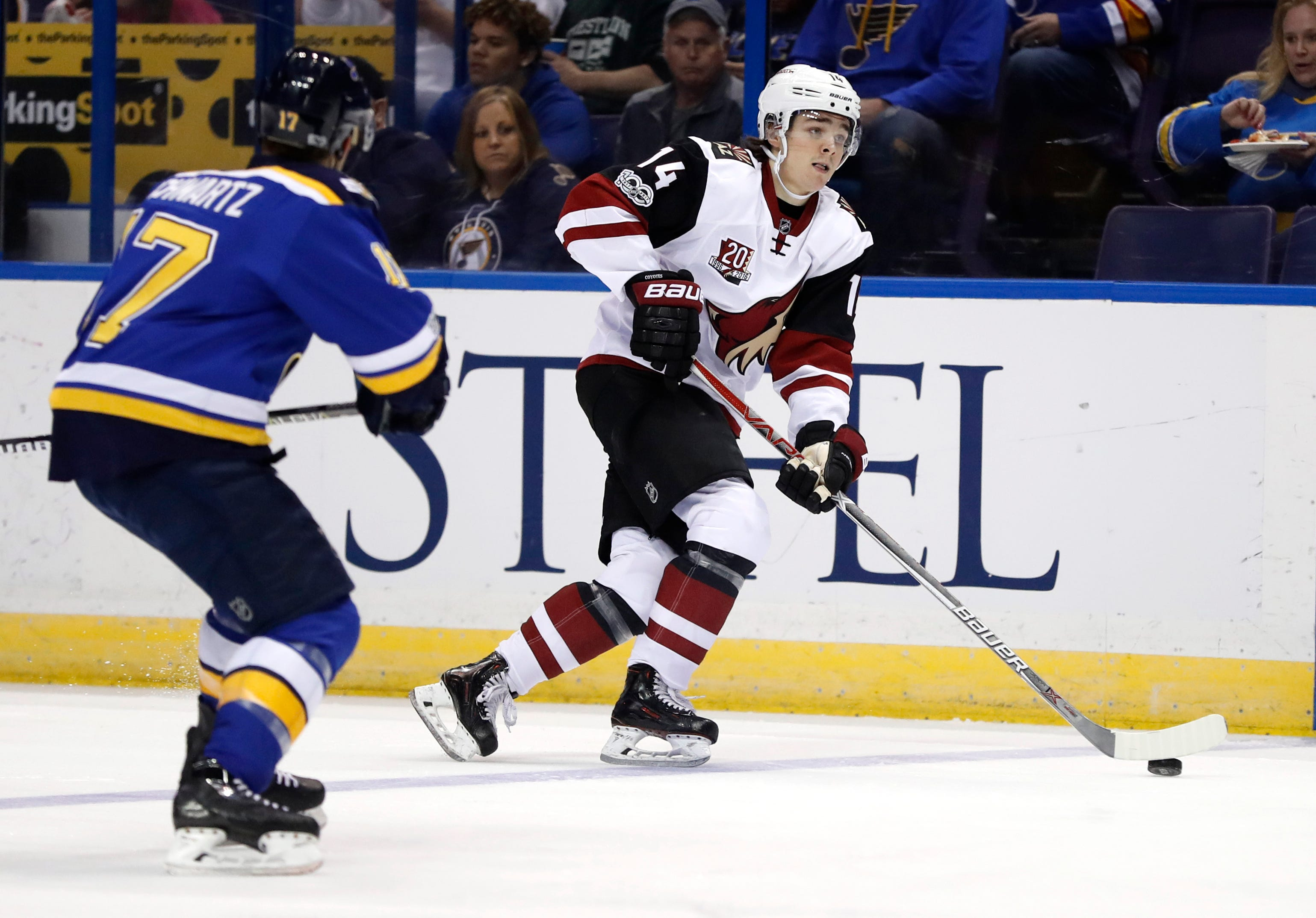 Spotlight on Clayton Keller, rookies in Arizona Coyotes' loss to St. Louis Blues