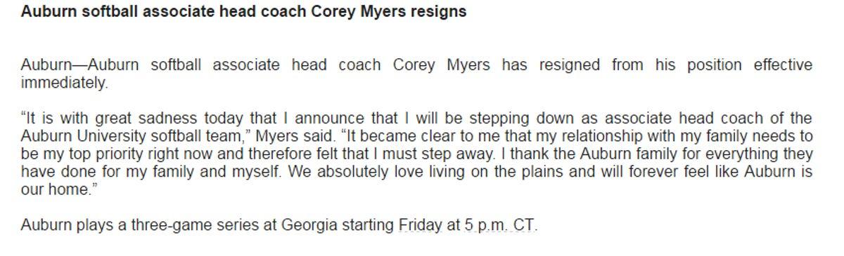 Auburn softball assistant coach Corey Myers resigns 33 games