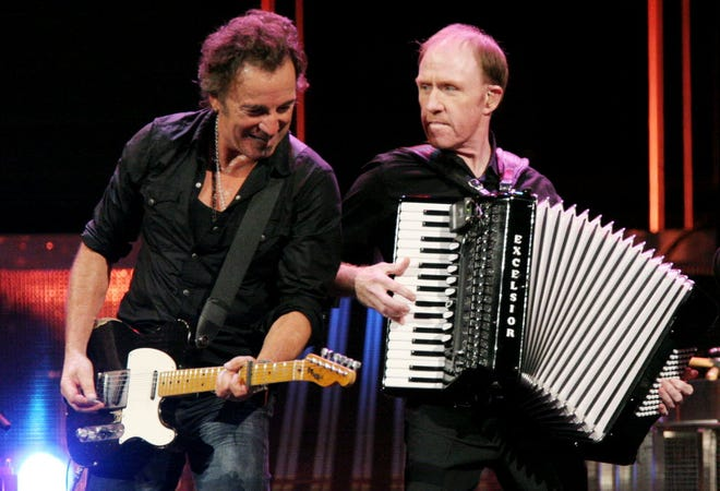 Bruce Springsteen and Danny Federici perform on stage at the Mellon Arena in Pittsburgh, on Nov. 14, 2007.