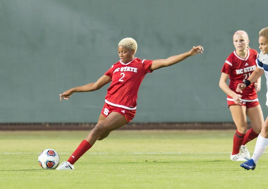 North Carolina State's Tziarra King gets ready to kick the ball during a game last season.