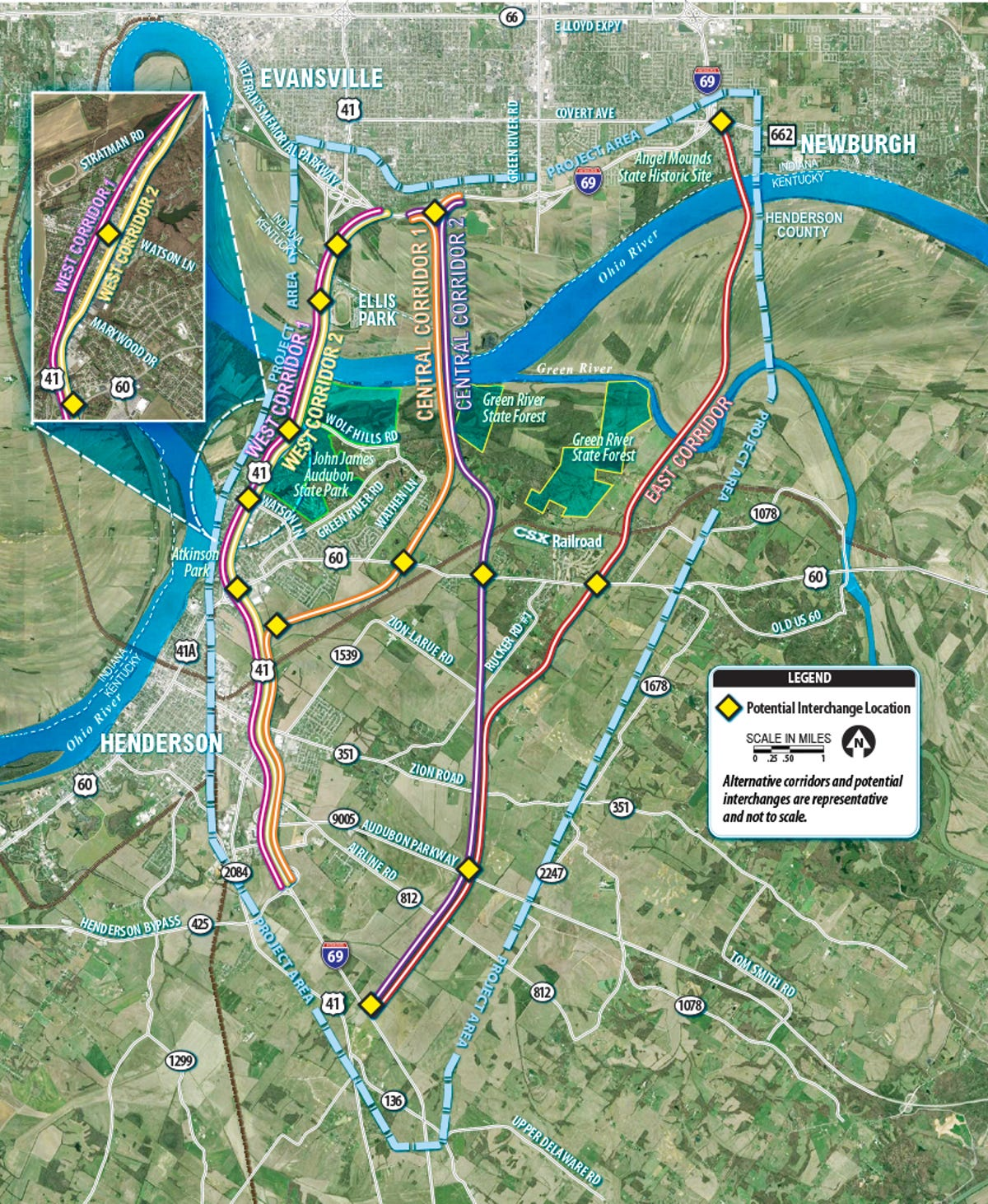 Evansville gets a look at 5 I-69 Ohio River bridge possibilities on i 70 map, i 96 map, i 81 map, i 79 map, i 65 map, i 465 map, us interstate highway system, i 59 map, i 275 map, i 94 map, i 75 map, proposed interstate highways, i 74 map,