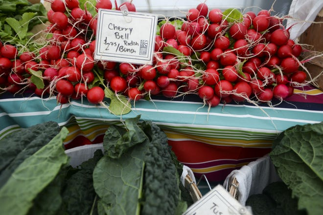 Native Hill Farm produce is on display during the Larimer County Farmers' Market Saturday, May 23, 2015, in Old Town Fort Collins, CO.