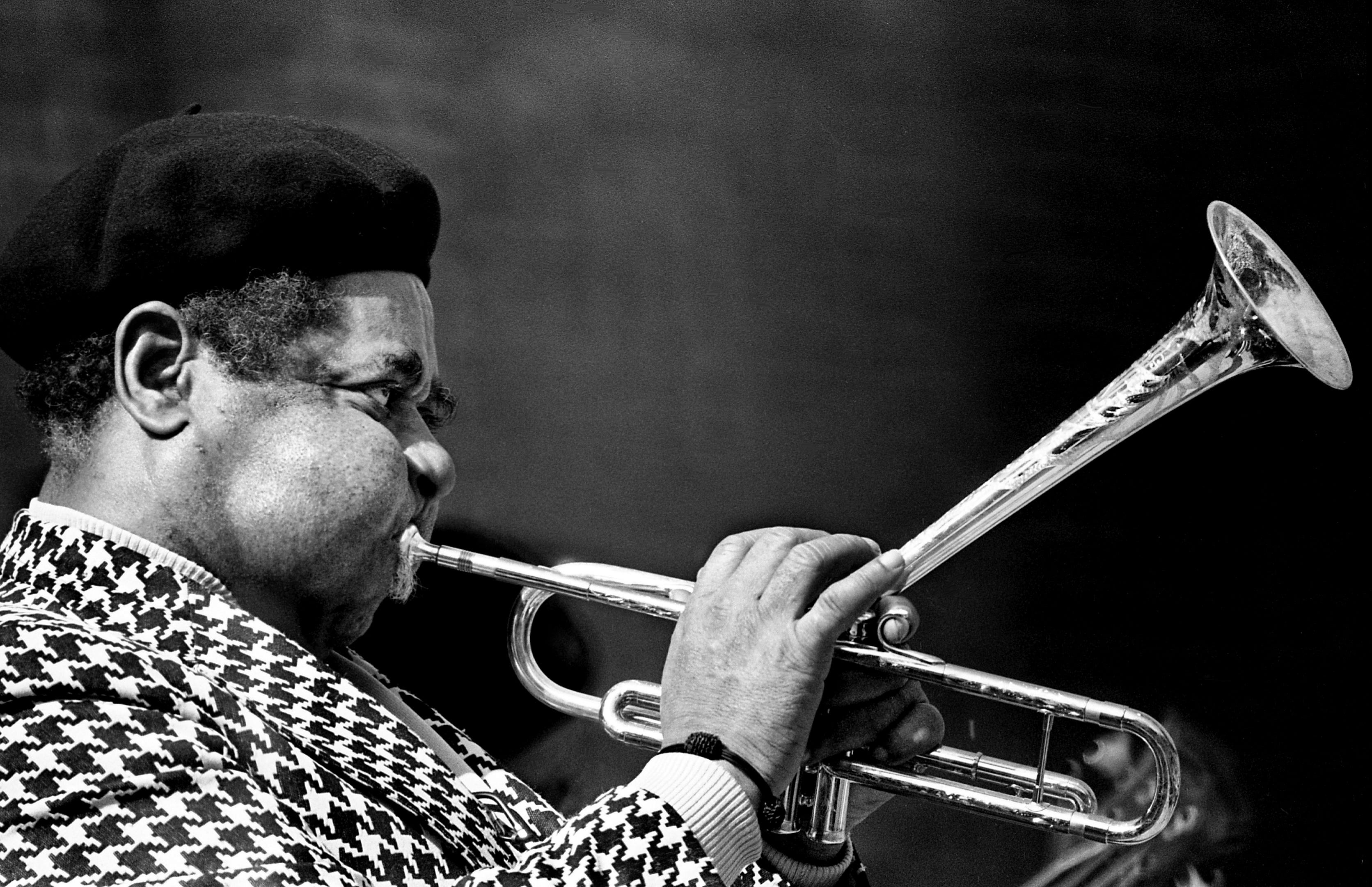 Jazz great Dizzy Gillespie is performing for several thousand packing the Alumni Lawn of Vanderbilt University for the Tennessee Jazz Festival April 9, 1977.