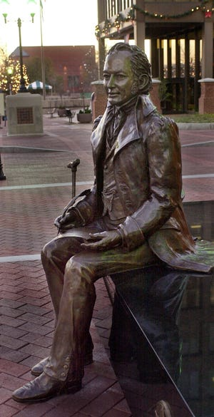 Joel Poinsett statue in front of City Hall on Dec. 3, 2001.