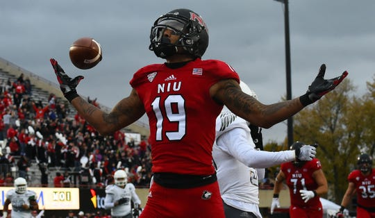 Oct 24, 2015; DeKalb, IL, USA; Northern Illinois Huskies wide receiver Kenny Golladay reacts after a touchdown against the Eastern Michigan Eagles during the second quarter at Huskie Stadium.