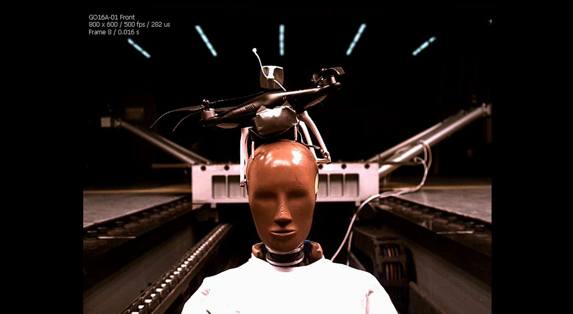 What happens if a drone hits you in the head?