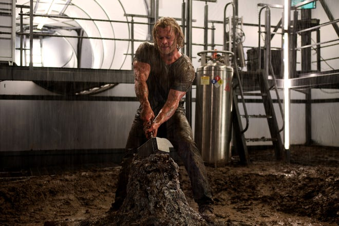 """A thunder god (Chris Hemsworth) comes to Earth to prove his worth in """"Thor."""""""