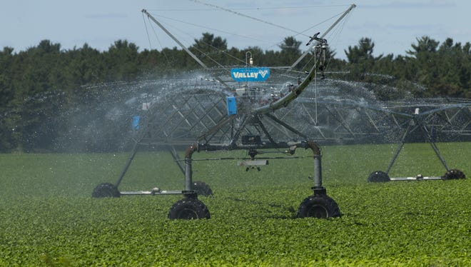 An irrigation system waters crops in Coloma, in the Central Sands region, 1.75 million acres in central Wisconsin where there is a large concentration of high-capacity wells used for irrigation. A bill signed June 1 by Gov. Scott Walker eases regulations  on high capacity wells.