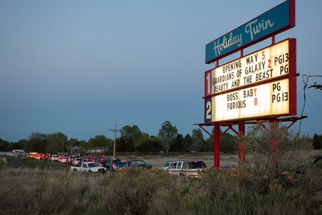 Tickets sold out just before sunset on opening night at the Holiday Twin Drive-in on Friday, May 5, 2017.