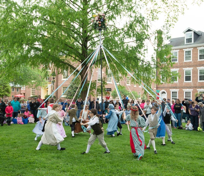 Major George S. Welch Elementary School performs the maypole dance during the Old Dover Days celebration.