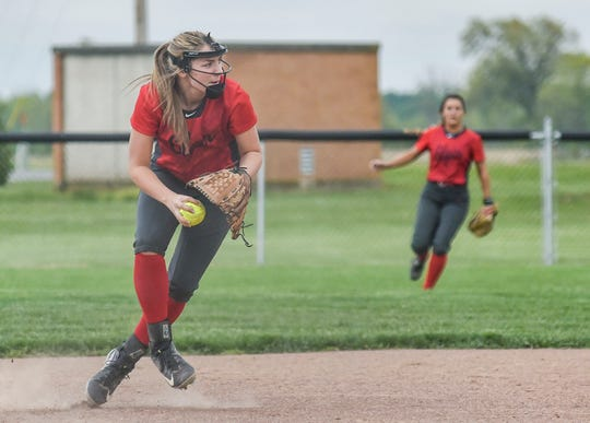 Elgin's Bekah Muselin looks to make a play in a game against Centerburg earlier in her softball career for the Comets. Muselin is in her last season before graduating and going to Ohio Northern to play women's basketball.