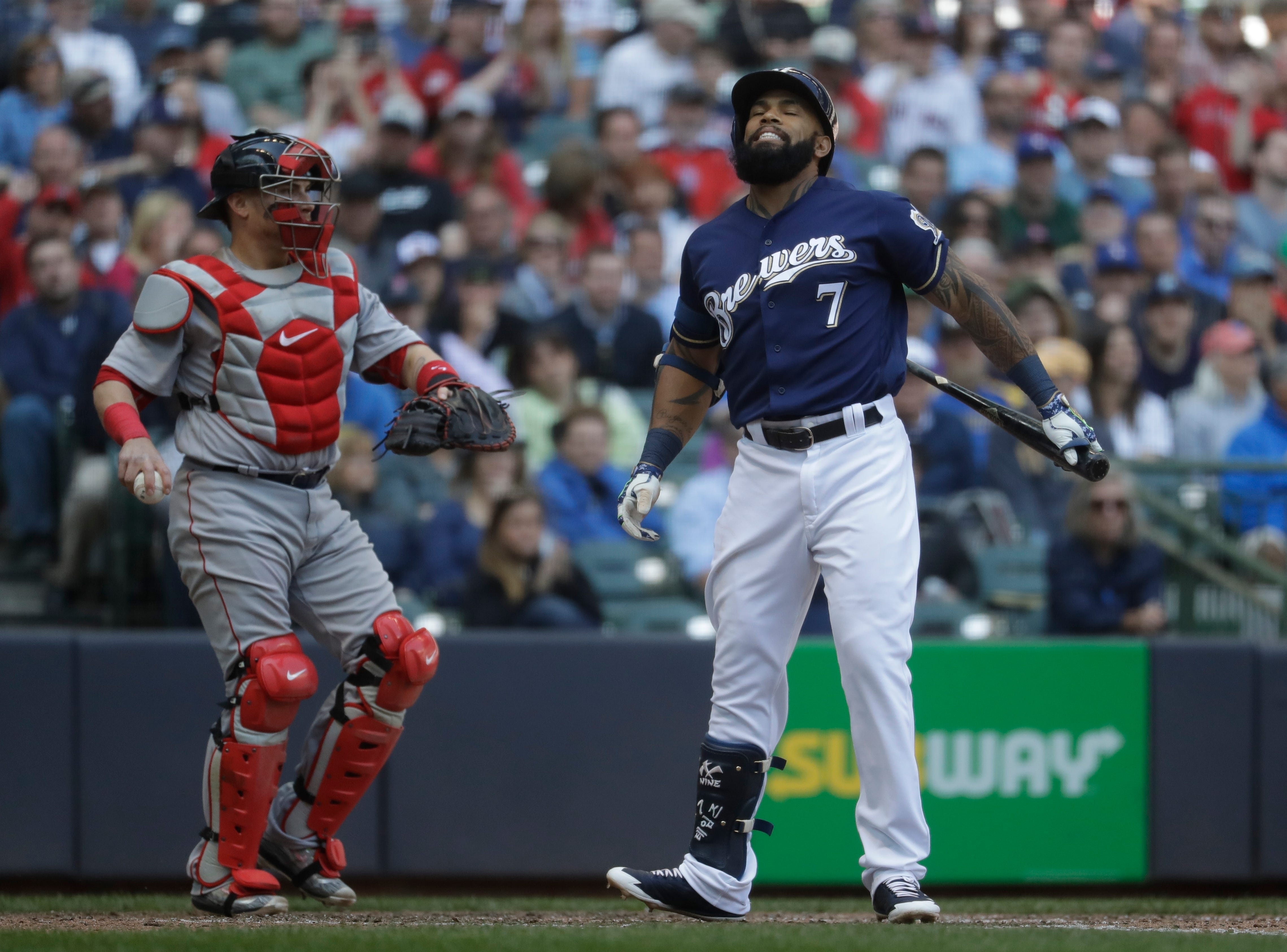 Eric Thames sidelined by strep throat; Travis Shaw still dealing with sore finger